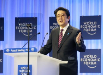 Prime Minister Abe delivered a keynote speech at the Annual Meeting of the World Economic Forum (Davos Meeting), January 22, 2014Source: Website of the Prime Minister of Japan and his Cabinet
