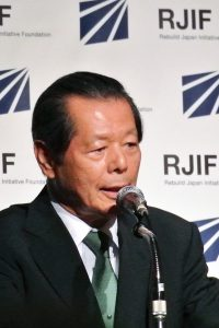"Rebuild Japan Initiative Foundation (RJIF) founder Funabashi Yoichi at the ""Population Evaporation"" symposium"