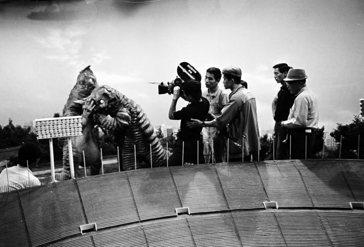 Tsuburaya Eiji (far right) overseeing the special effects studio while filming Demons Rise Again, episode 19 of Ultraman  © TSUBURAYA PRODUCTIONS