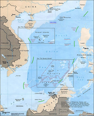 "The Tribunal found that China's claim to the South China Sea on the basis of the ""nine-dash line"" [green dashes] was incompatible with the UNCLOS and that there was no evidence supporting the ""historic rights"" of China. Source: Public Domain via Wikimedia Commons"